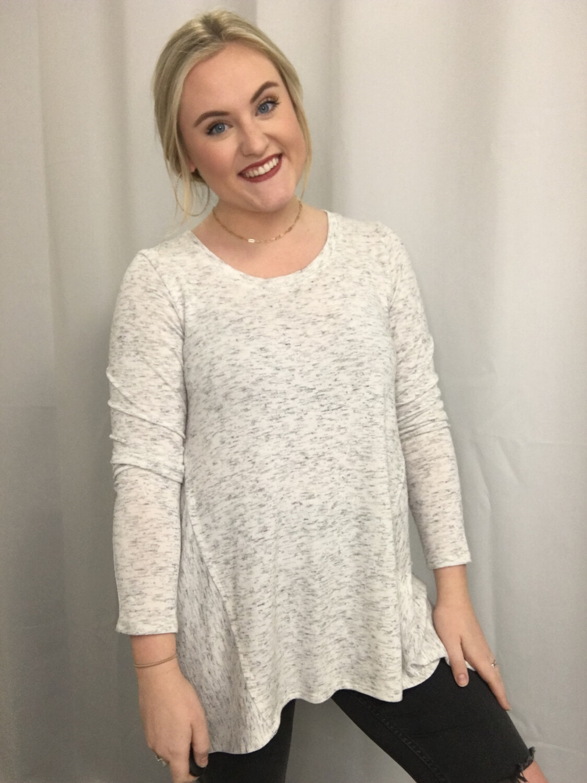 Michael Stars Heather White Long Sleeve Sweater -  M
