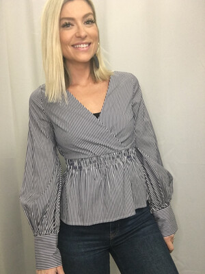 Express Blue & White Striped Tailored Top - S