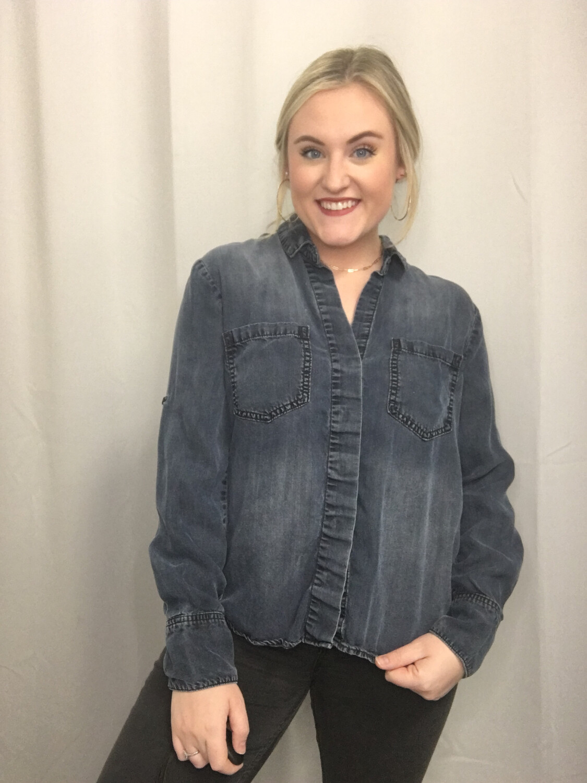 Cloth & Stone Dark Denim Button Up - M
