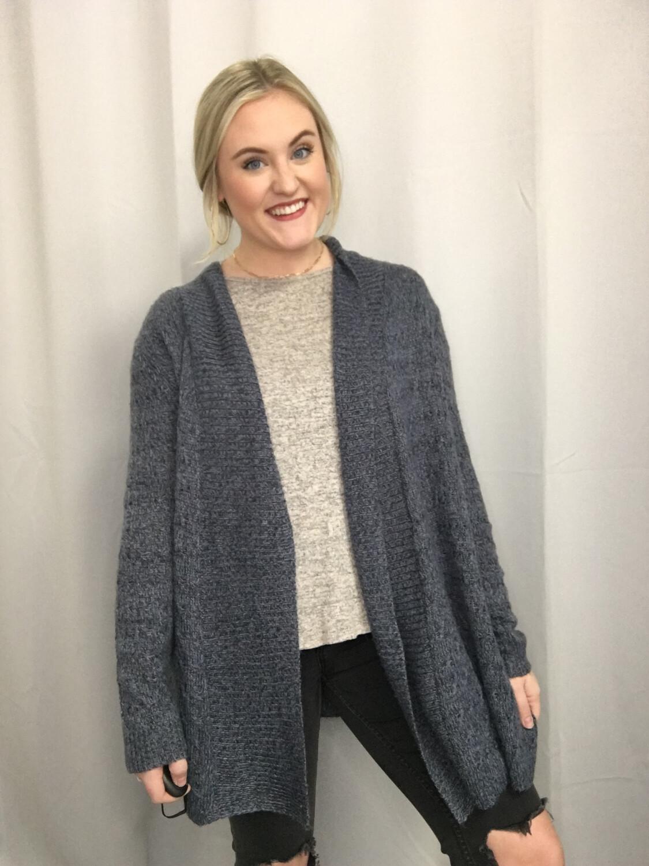 Kim Rogers Blue Knit Sweater Cardigan - M