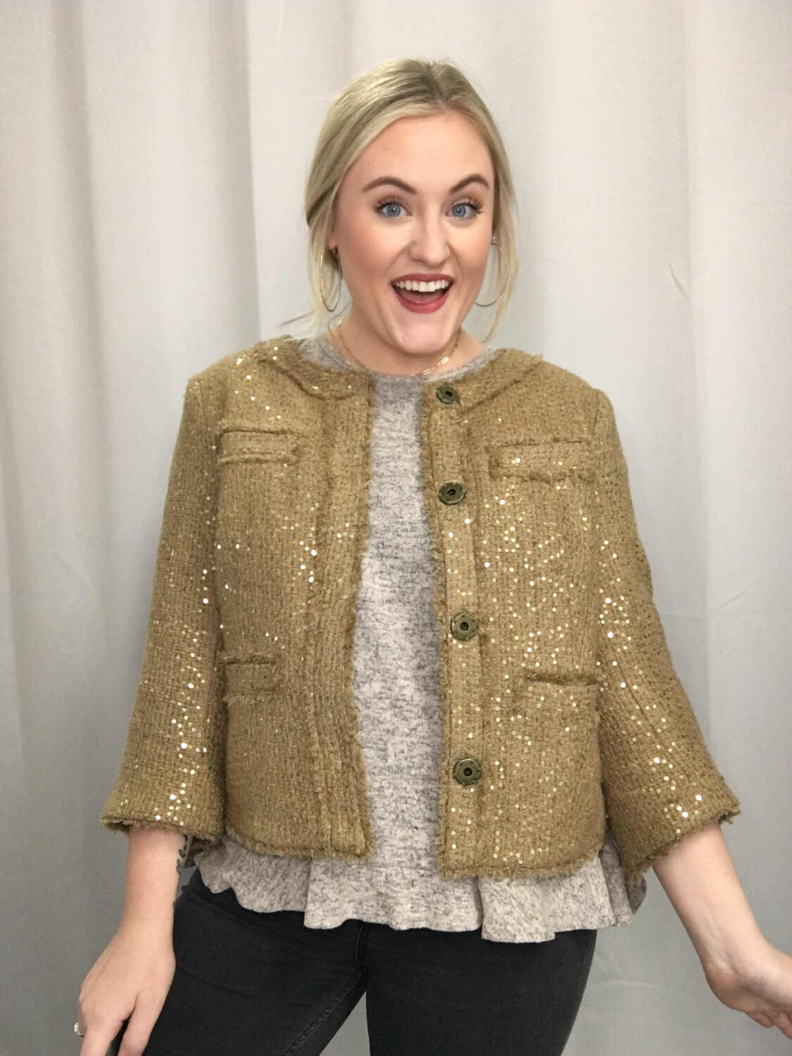 Michael Kors Tweed Sequin Blazer - Size 8