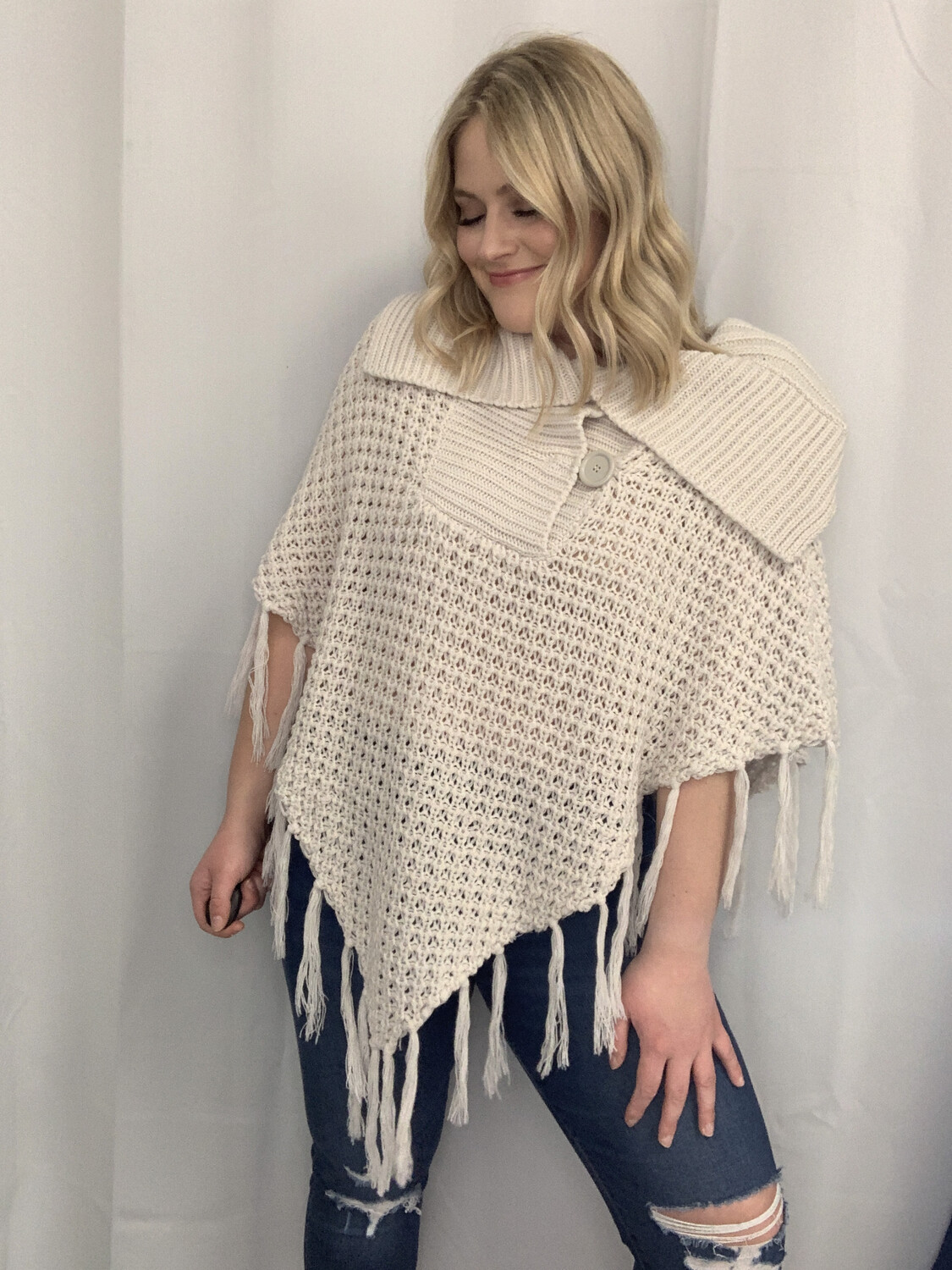 Say What Cream Knit Poncho with Fringe - O/S