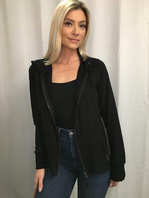 Romeo & Juliet Couture Black Studded Zip Hoodie - S