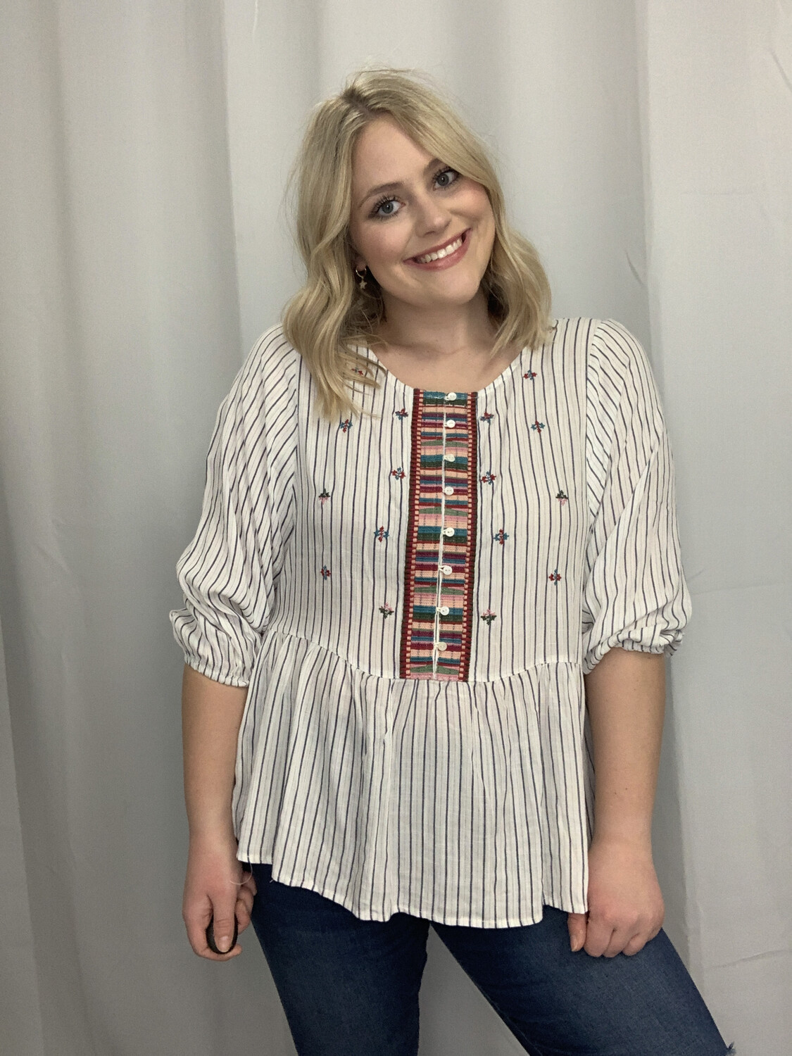 how•very•loved White & Blue Striped Top with Embroidery  - L