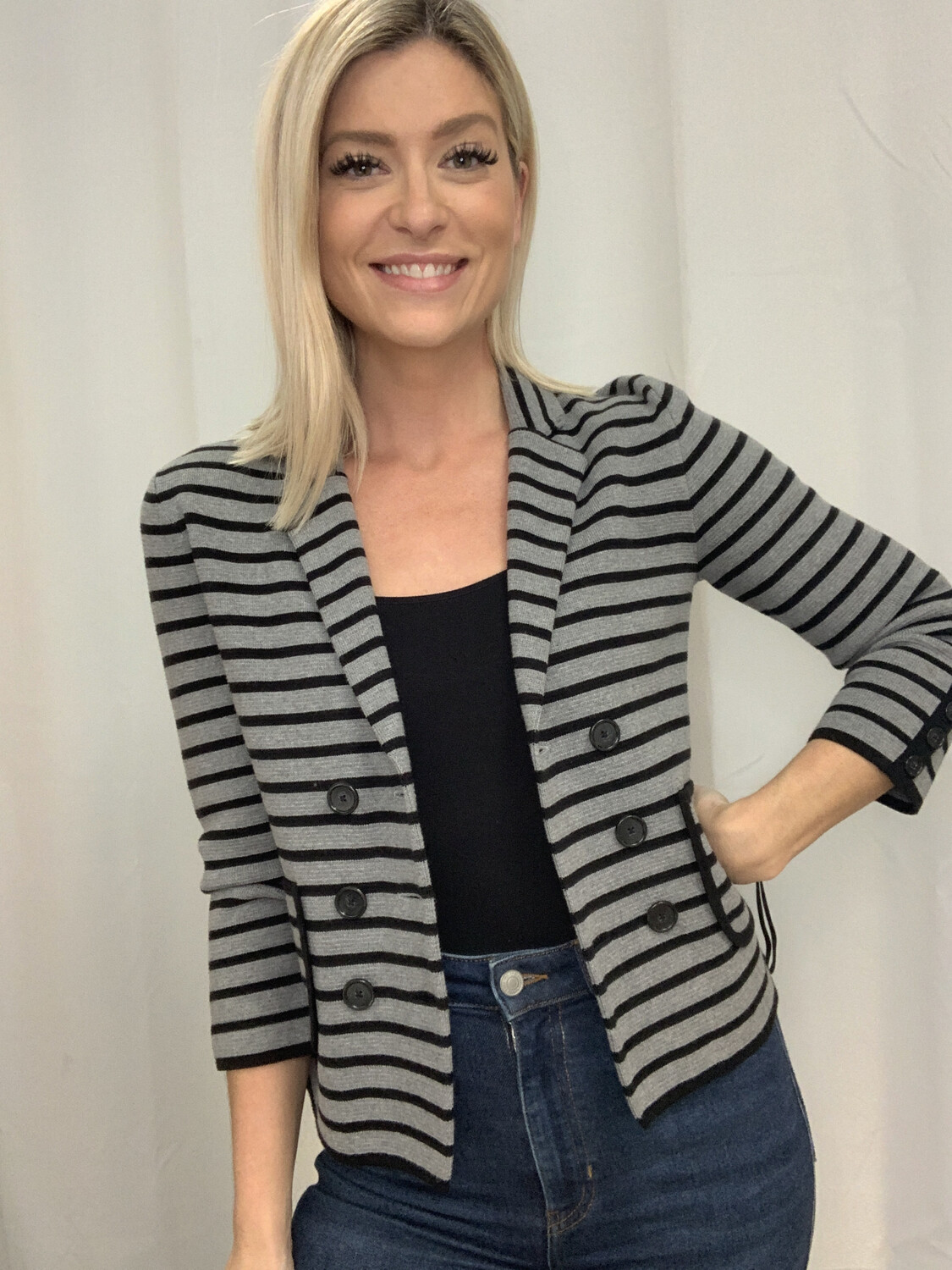 LOFT Grey & Black Striped Blazer - S