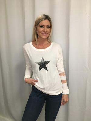 Free People -White Long Sleeve Star Tee - S