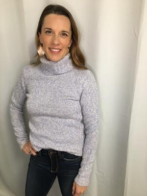 Ann Taylor Blue & White Turtleneck Knit Sweater - XS