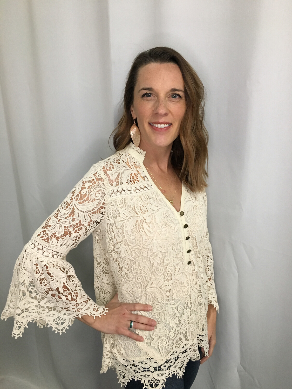 Maeve Cream Lace Top with Button Accent - Size 0
