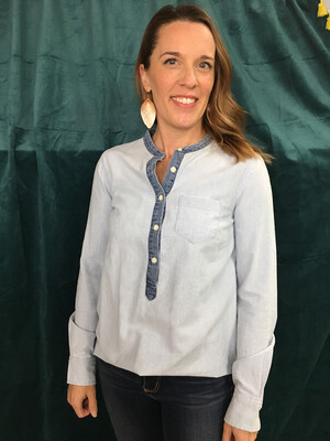 J. Crew Chambray Button Up Top - XS