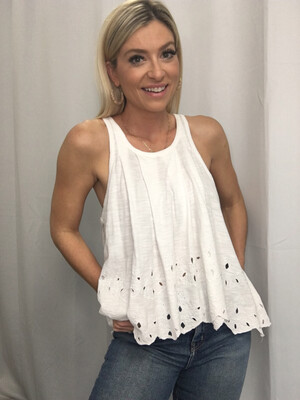 Free People White Tank with Bottom Embroidery - S
