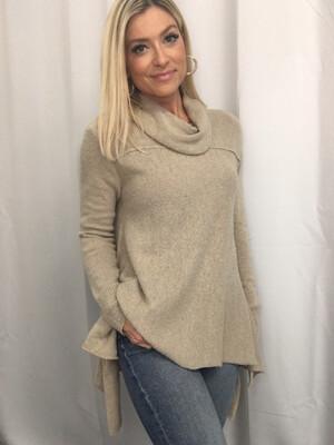 Umgee Tan Cowl Neck Sweater - S