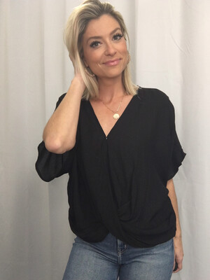 Umgee Black Blouse with Twist Front - S