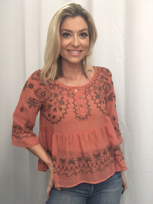 Free People Salmon Sheer Top with Gray Embroidery - S