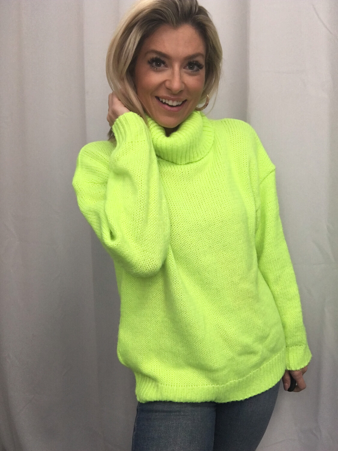 Pretty Little Thing Lime Neon Sweater - S