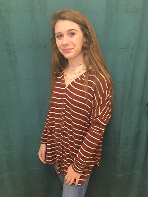 a.n.a. Rust & White Striped Button Up Top - XS