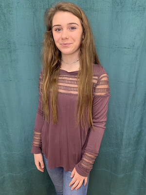 Free People Purple Top with Sheer Accent - XS