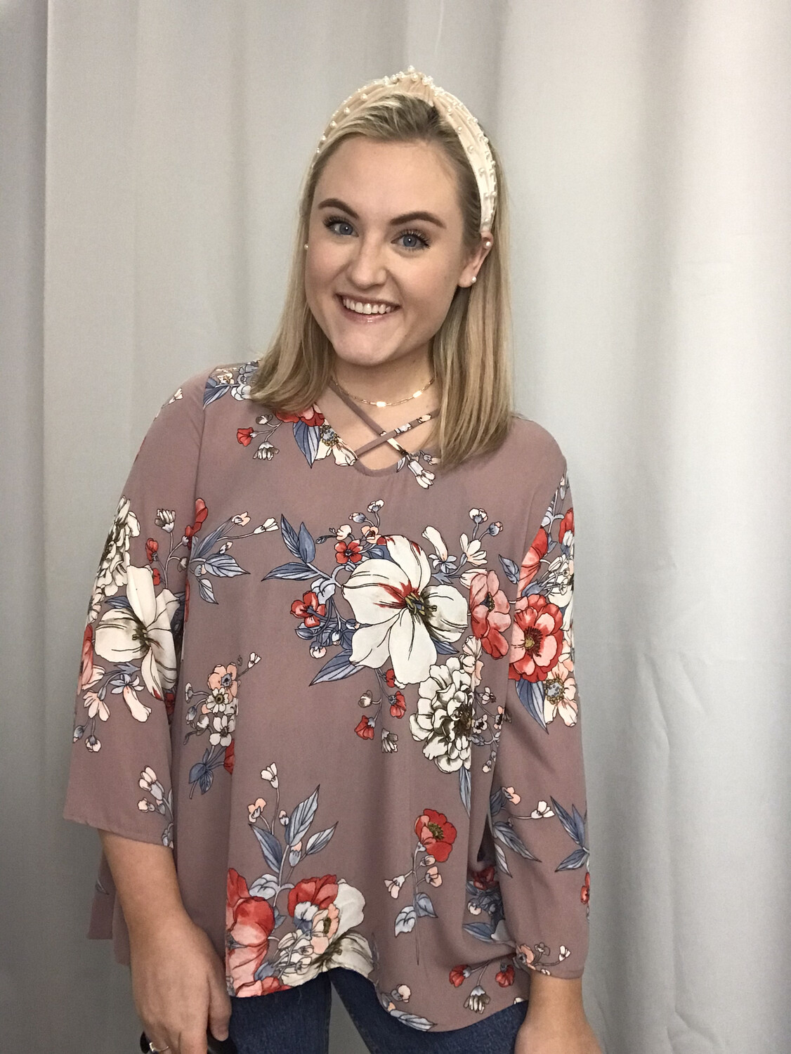 ee:some Dusty Rose Blouse with Floral print - M