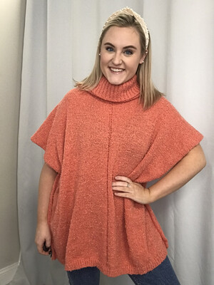 Coral Turtleneck Sweater - M
