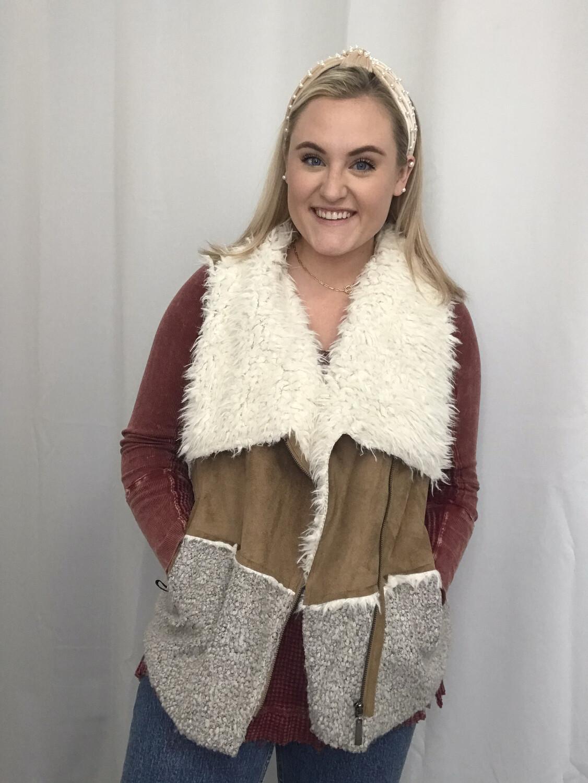 Estelle Tan Vest with Sherpa Collar - M