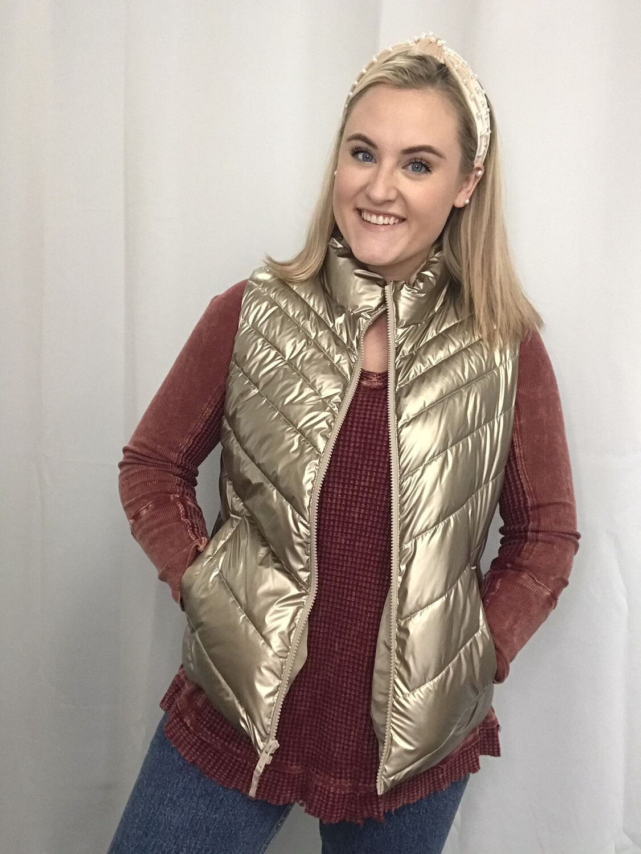 Gap Gold Metallic Vest - M
