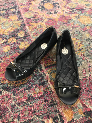 Cole Haan Navy Patent Leather Wedges - Size 5