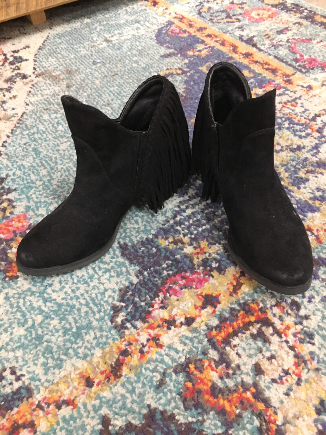 Hot Rated Black Fringe Booties - Size 7