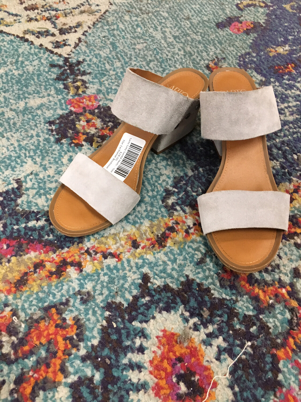 Sarto Grey Sandal Heels - Size 8