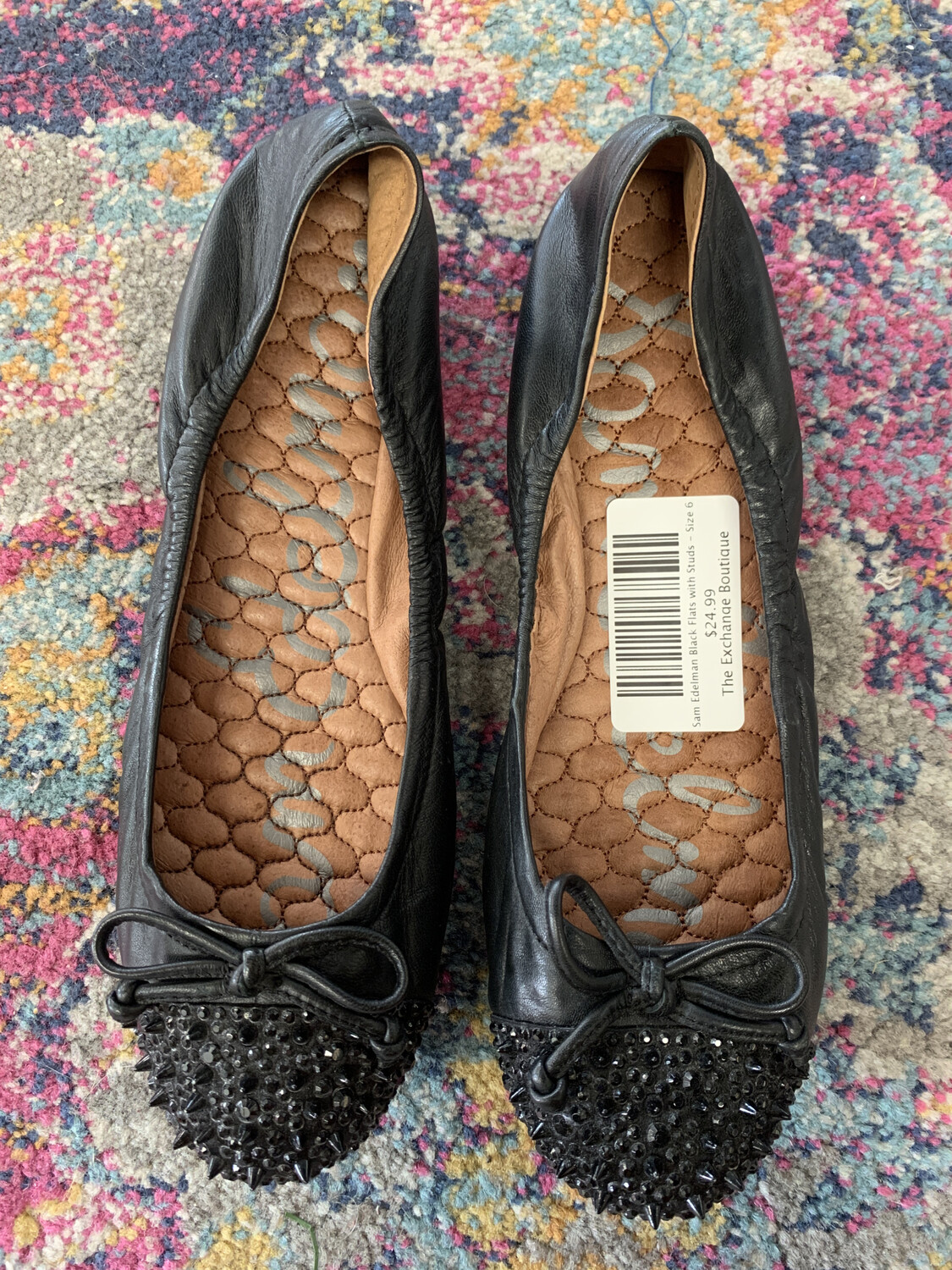 Sam Edelman Black Flats with Studs - Size 6