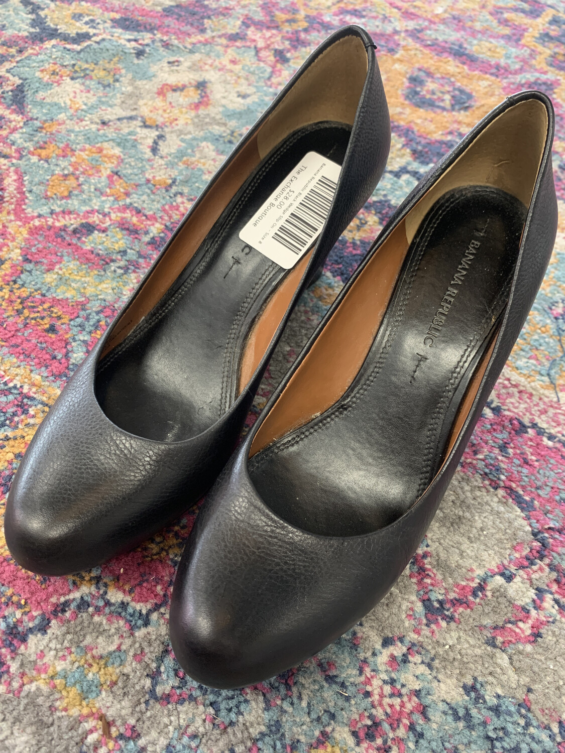 Banana Republic Black Wedge Slip On - Size 8