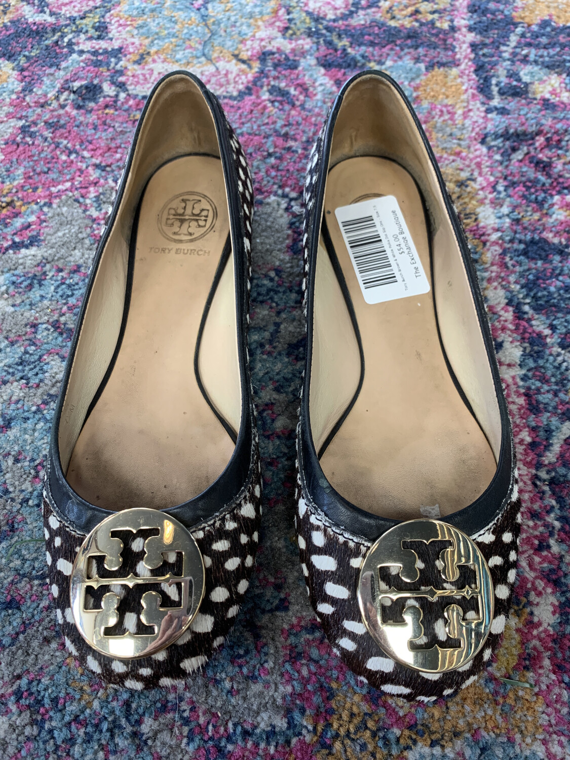 Tory Burch Brown & White Polka Dot Slip Ons - Size 7.5