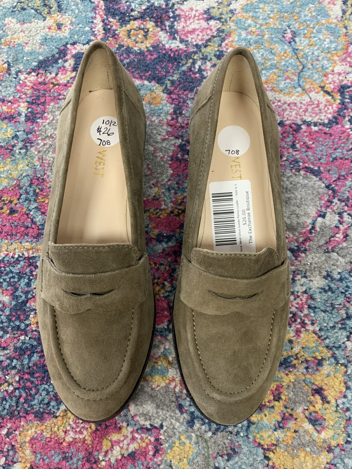 Nine West Olive Suede Penny Loafer - Size 6.5