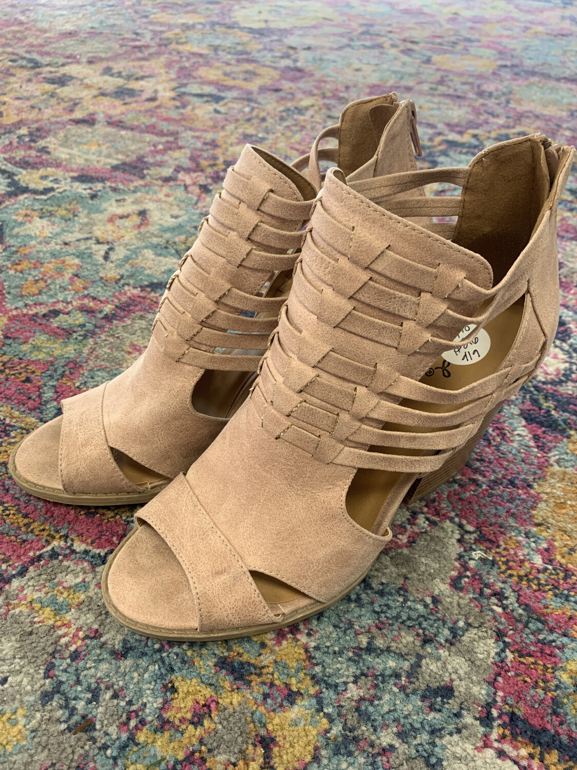 Qupid Blush Peep Toe Booties - Size 9