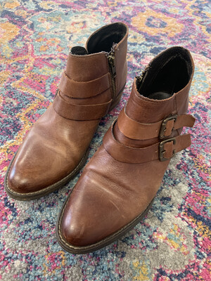 Krbonell Brown Leather Booties - Size 8.5