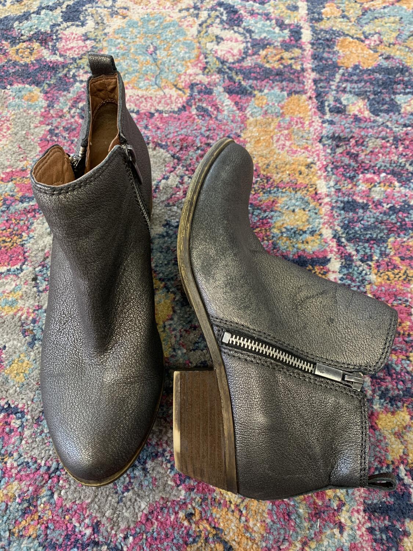 Lucky Brand Gray Metallic Boots - Size 9