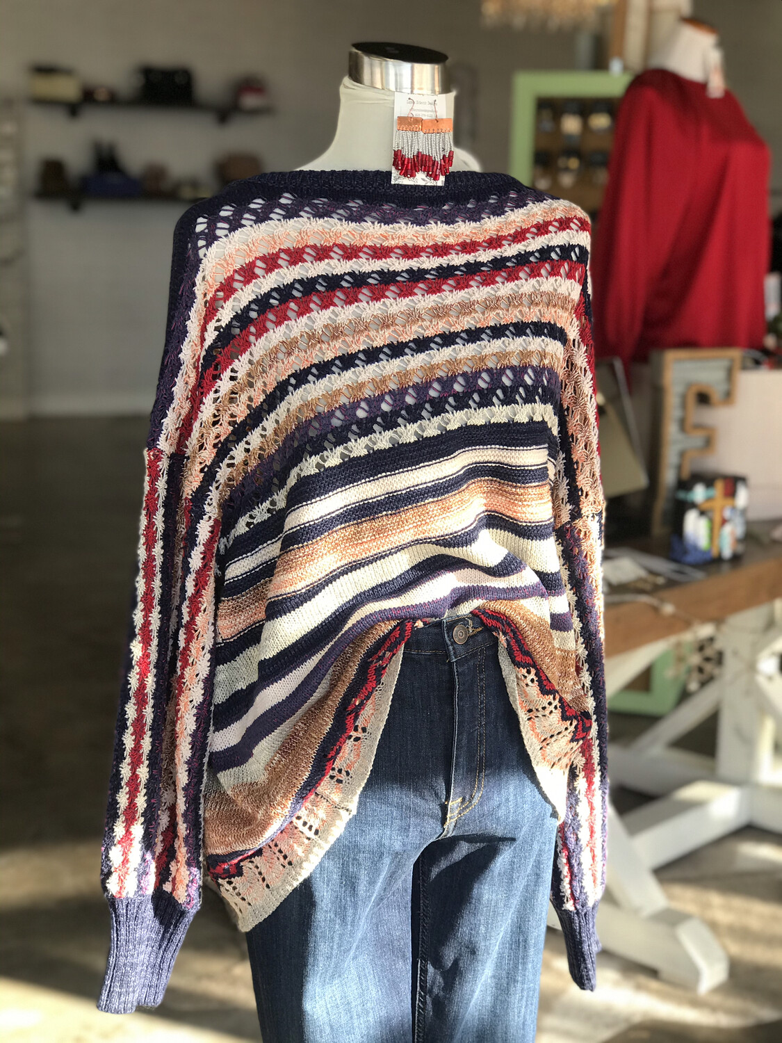 Umgee Navy Striped Sweater with Color Accent - S