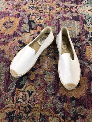 Soludos White Snakeskin Slip Ons - Size 9.5
