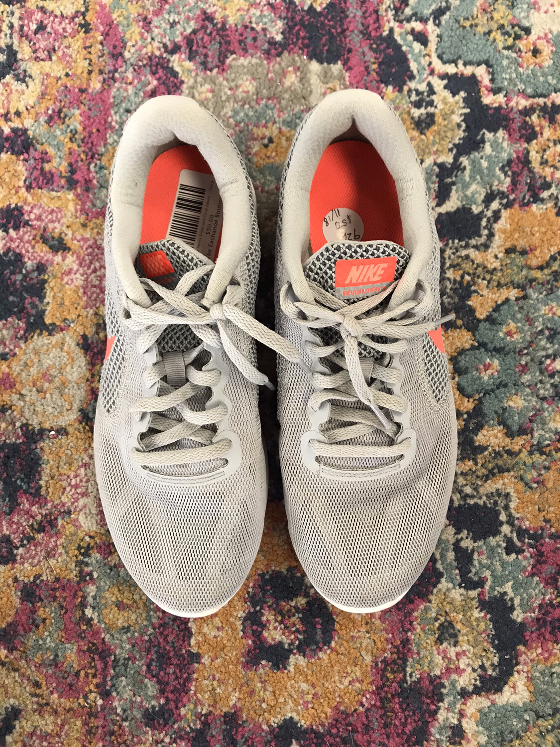 Nike Gray Tennis Shoes with Coral Details - Size 9