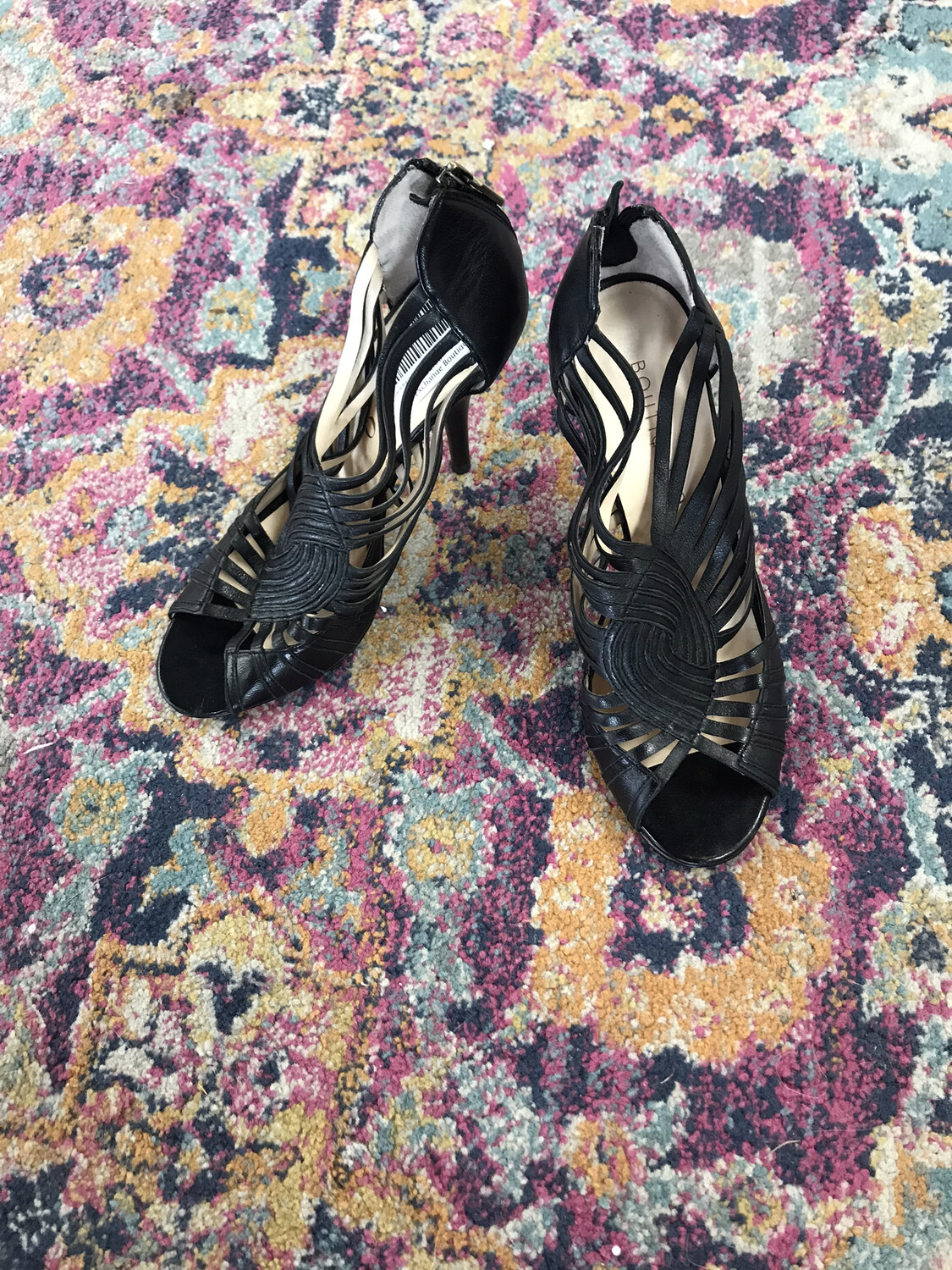 Boutique 9 Black Heels with Strappy Detail - Size 8.5