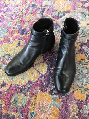 Zara Basic Black Pearl Buckle Booties - Size 7.5