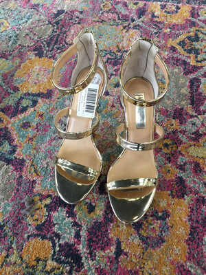 INC Gold Strappy Heels - Size 7