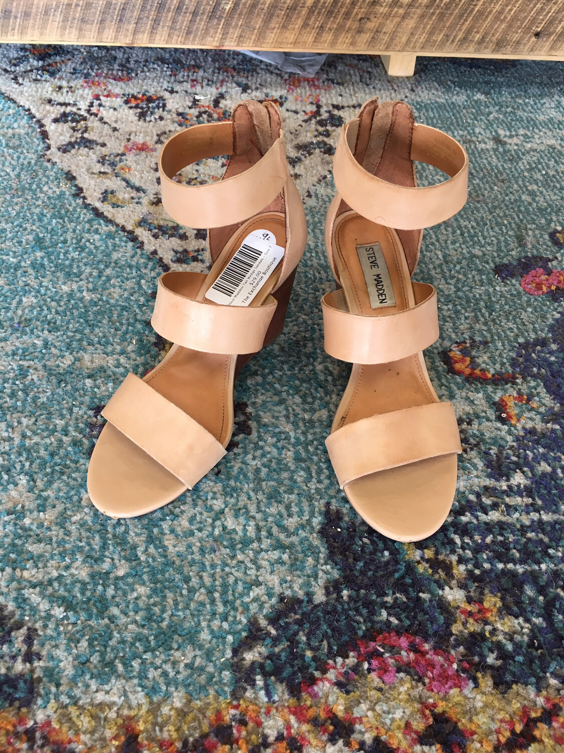 Steve Madden Tan Wedge Sandals - Size 7