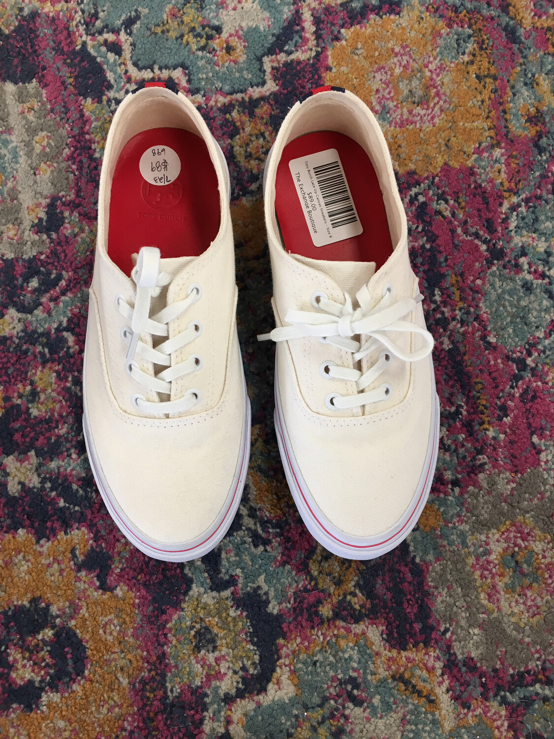 Tory Burch Lace Up Canvas Sneakers - Size 8