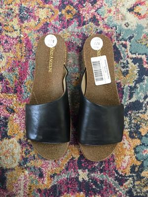Enzo Angiolini Black Leather Strap Slip Ons - Size 7.5