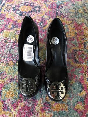 Tory Burch Black & Silver Heels - Size 5