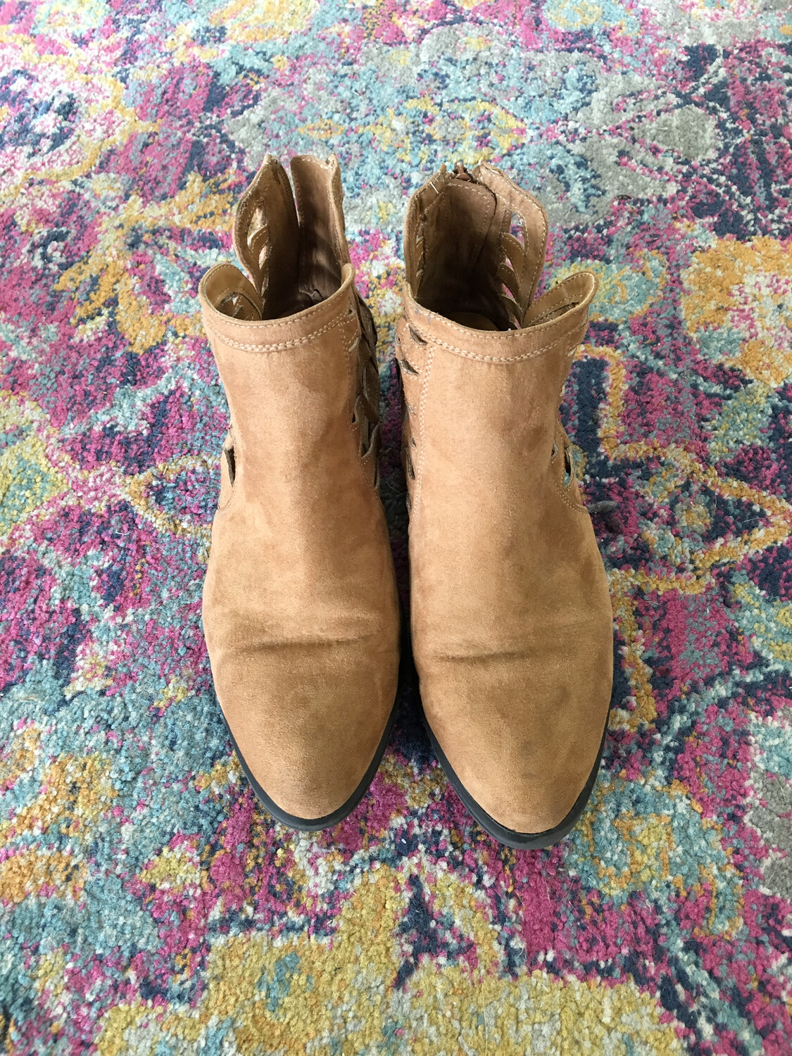 Bamboo Tan Cutout Booties - Size 7.5