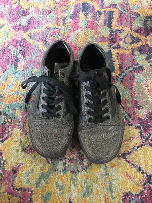 Vans Black Glitter Sneakers - Size 6