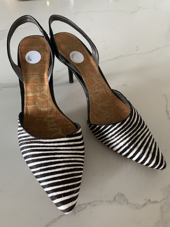 Sam Edelman Brown & White Zebra Slingback Heels - Size 10