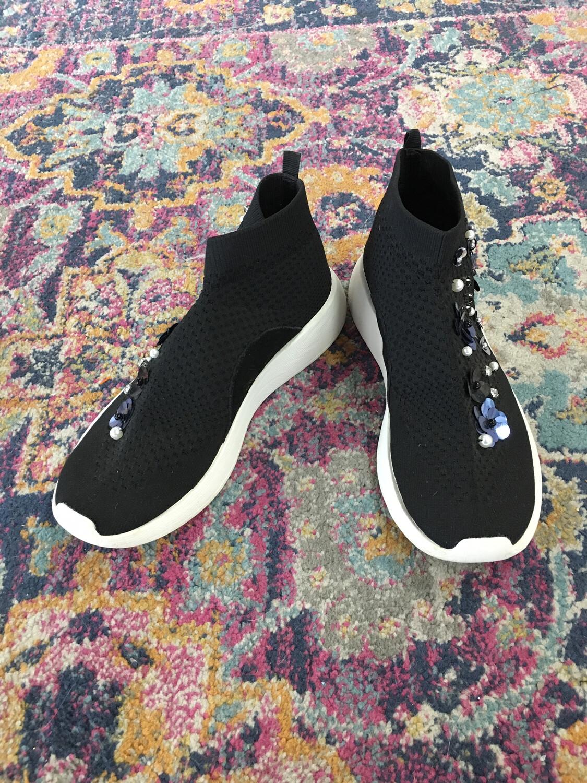 Zara Woman Black Flower Sneakers - Size 7.5