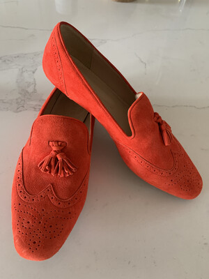 J. Crew Red Suede Tassel Loafers - Size 9.5