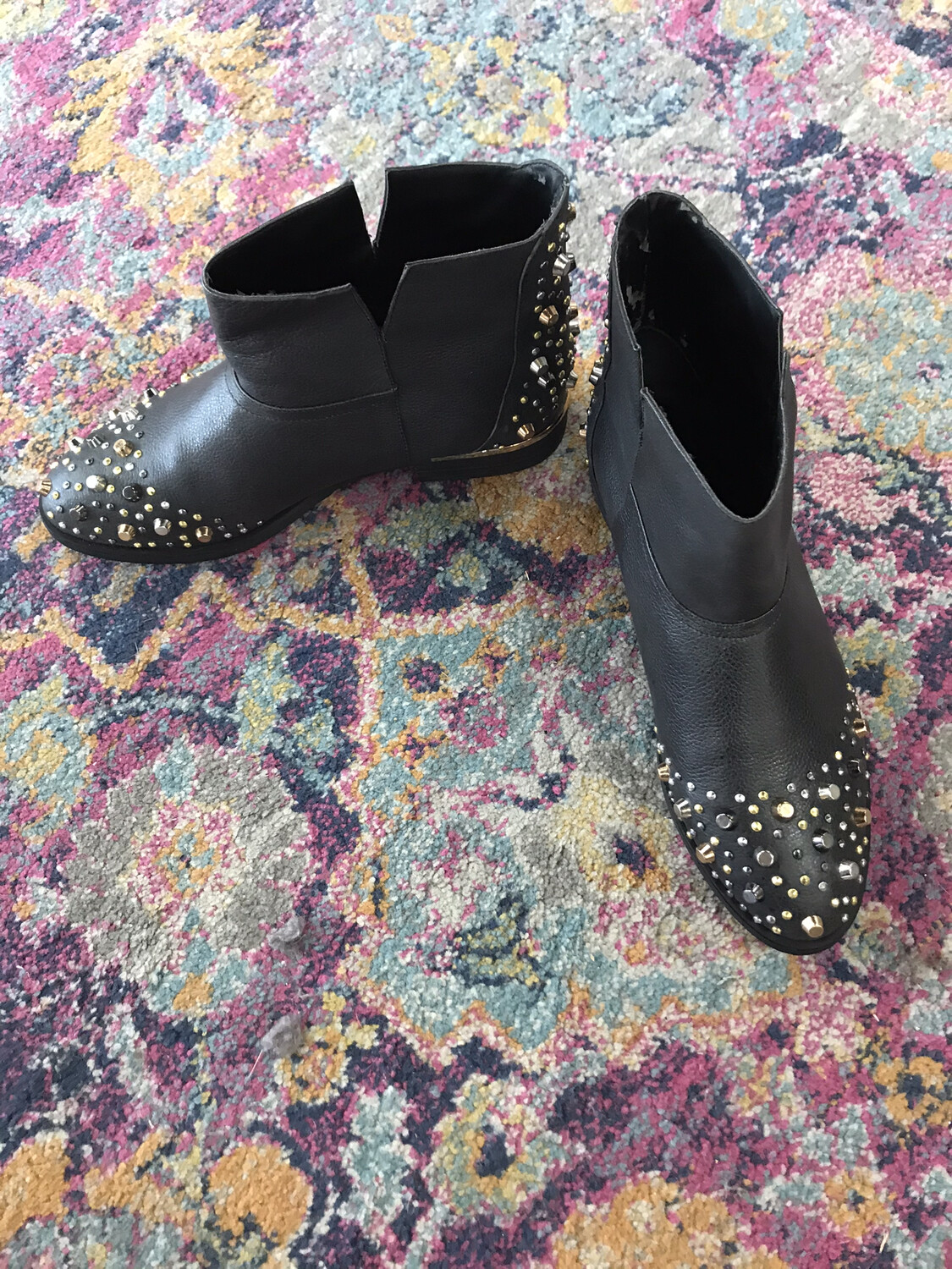 Modern Vice Black Studded Booties - Size 11